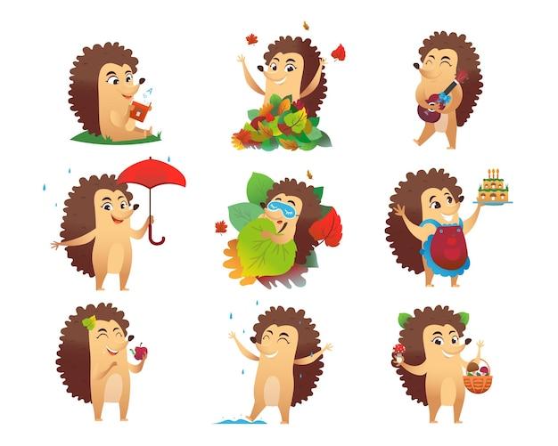Cute hedgehog cartoon character illustrations set