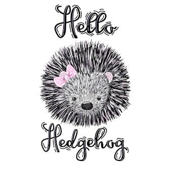 Cute hedgehog cartoon hand drawn