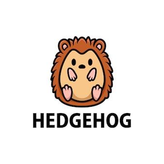 Милый ежик мультфильм логотип значок иллюстрации