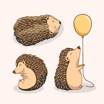Cute hedgehog cartoon porcupine set