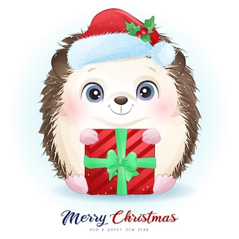 Cute  hedgehog for christmas day with watercolor illustration
