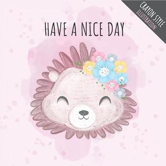 Cute hedgehog flowers crayon illustration for kids