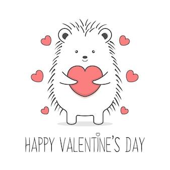 ハートバレンタインデーを保持しているかわいいハリネズミ