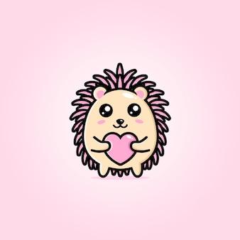 A cute hedgehog hugging a heart