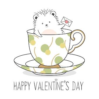 연애 편지를 들고 컵에 귀여운 고슴도치