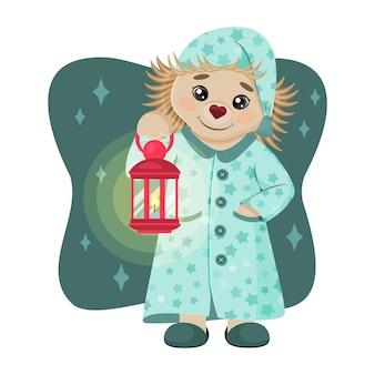 Милый ёжик в пижаме и с лампой. сказочный персонаж. детский рисунок. векторная иллюстрация. мультяшный стиль. изолированные на белом.