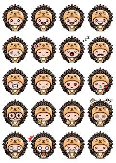Cute hedgehog mascot set