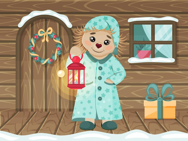 Cute hedgehog in pajamas and with a lamp on porch of a wooden house. a fairy tale character. a child picture. vector illustration. cartoon style. greeting card.