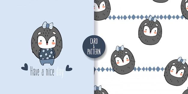 Cute hedgehog pet seamless pattern and illustration