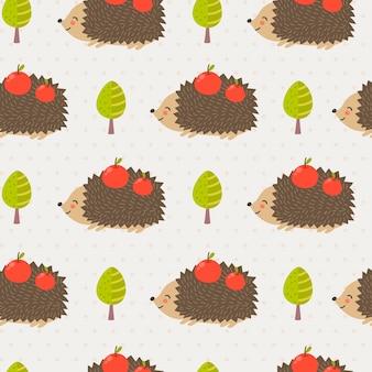 Cute hedgehog seamless pattern