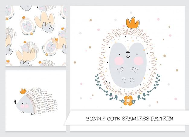 Cute hedgehog stationery set