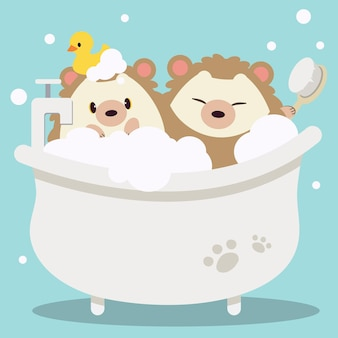 The cute hedgehog taking a bath with brush and duckrubber in flat vector style