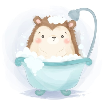 Cute hedgehog taking baths