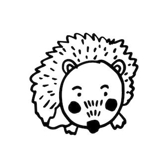 벡터의 현대적인 스칸디나비아 스타일로 유행하는 귀여운 고슴도치