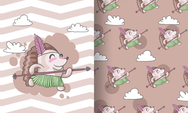 Cute hedgehog  tribal seamless pattern illustration for kids