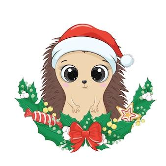 Милый ежик с рождественским венком.