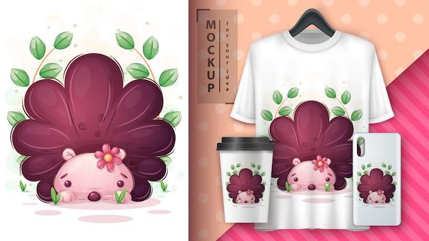 花のポスターとマーチャンダイジングのかわいいハリネズミ。