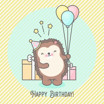 Cute hedgehogs and balloons