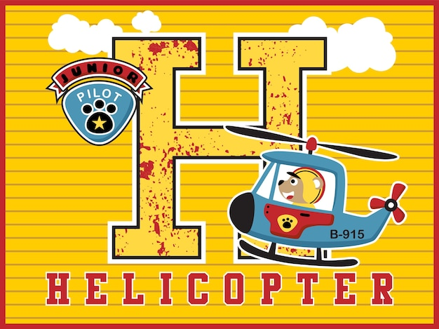 Cute helicopter pilot cartoon with big alphabet on striped background