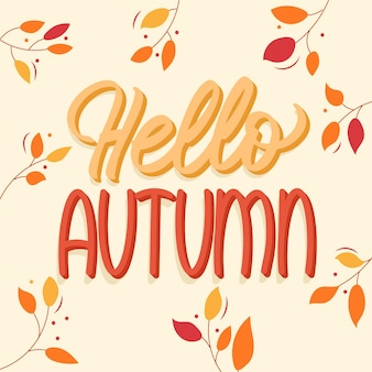 Cute hello autumn lettering with leaves