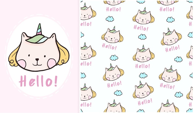 Cute hello cat unicorn poster seamless pattern