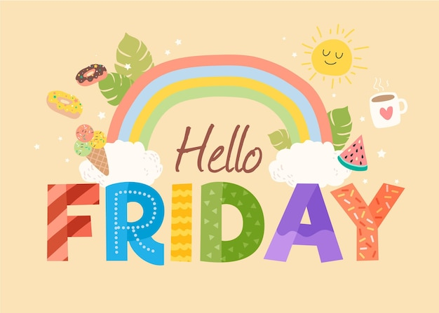 Cute hello friday background Premium Vector