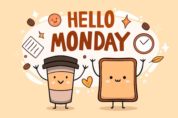 Cute hello monday background Premium Vector