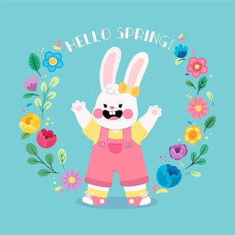 Cute hello spring concept