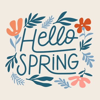Cute hello spring lettering