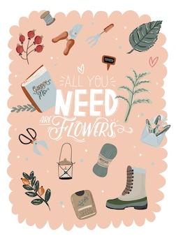 Милый комплект hello spring с нарисованными вручную элементами сада, инструментами и романтическими надписями. хороший шаблон для сети, открытки, плаката, наклейки, баннера, приглашения, свадьбы. иллюстрация