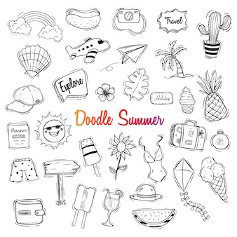 Cute hello summer illustration with doodle style