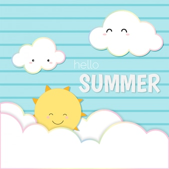 Cute hello summer, sky smiling sun and cloud card background.