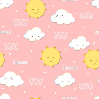 Cute hello summer,  smiling sun and cloud doodle seamless pattern background.