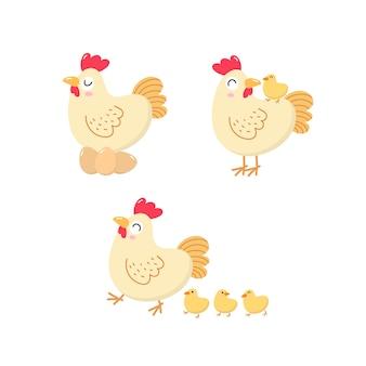 귀여운 암탉과 병아리