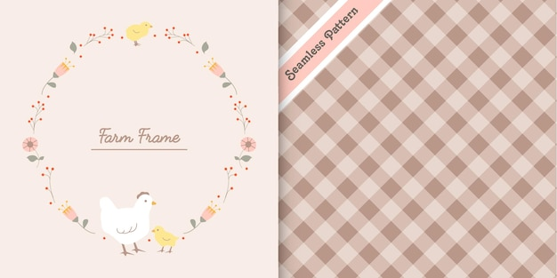 Cute hen and chicken frame with checkered seamless pattern premium vector