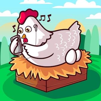 かわいい鶏はスマートフォンの漫画イラストで音楽を聴く