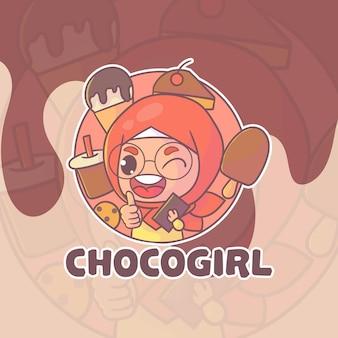 かわいいヒジャーブの女の子のボバのマスコットのロゴ。