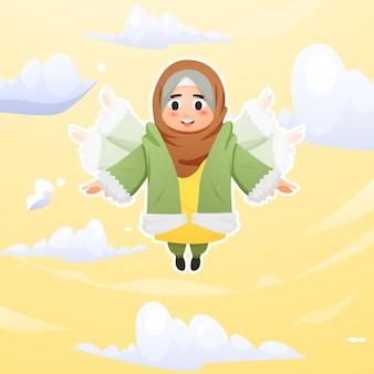 Cute hijab girl flying on sky