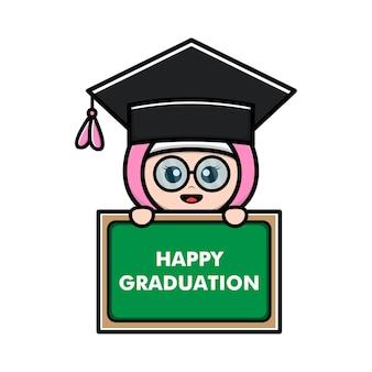 Cute hijab girl happy graduation vector illustration