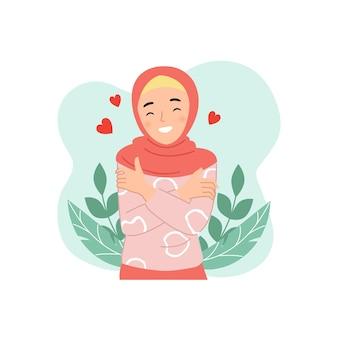 귀여운 히잡 여자는 자기 관리 또는 사랑의 상징으로 자신을 포옹합니다. 높은 자존감 개념. 플랫 만화 스타일.