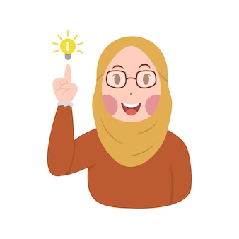 Cute hijab women shows gesture of getting great ideas vector illustration, expression of hijab women getting new ideas