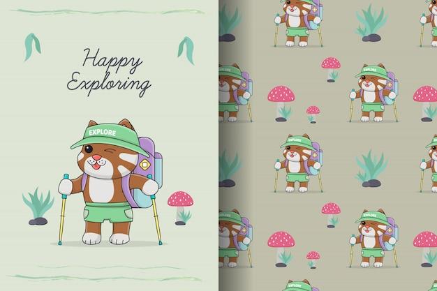 バックパックのシームレスなパターンとカードのかわいいハイキング猫