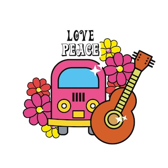 Cute hippie minibus with flowers and guitar