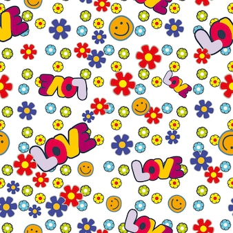 Cute hippie seamless pattern design