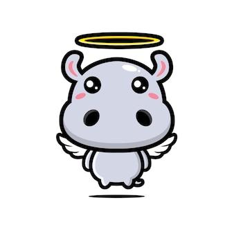かわいいカバの天使のキャラクターデザイン