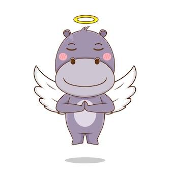 天使のキャラクターとしてかわいいカバ