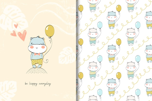 Cute hippo baby card and seamless pattern.