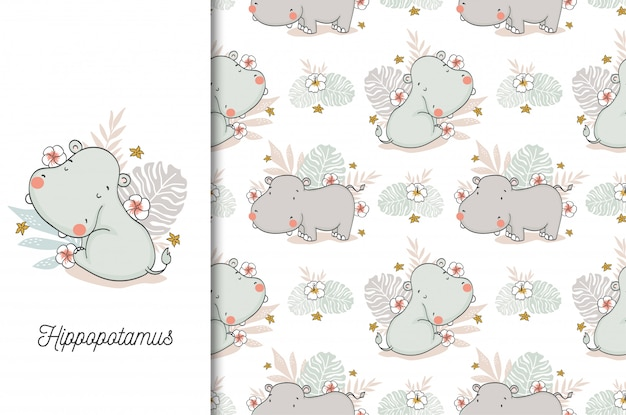 Cute hippo baby. jungle animal cartoon character and seamless pattern