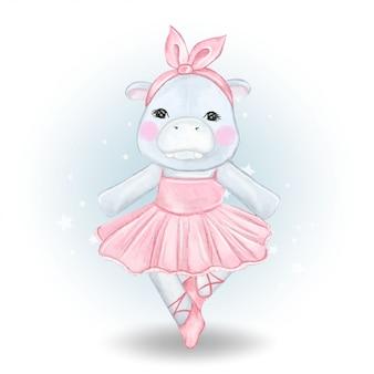 Cute hippo  ballerina watercolor illustration