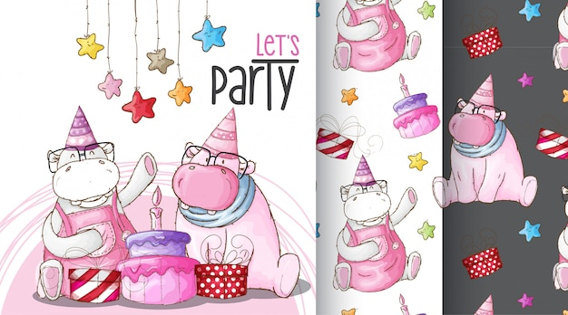 Cute hippo birthday party pattern illustration